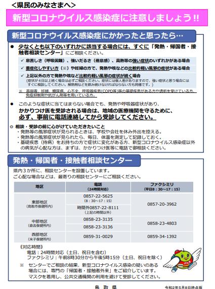 コロナ ウイルス 鳥取 県